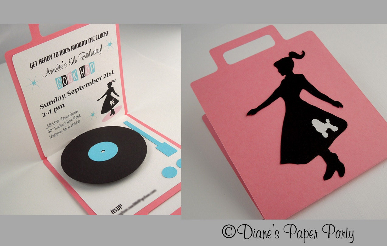 1950s Sock Hop Birthday Party Invitation Pop Up Record