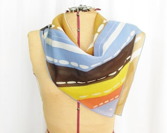 Vintage Scarf: Semi Sheer Stripes and Dashes