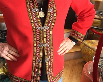 Vintage Red Wool Women's Ski Jacket Coat Size Medium
