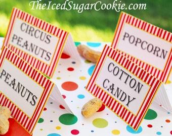 Circus Food Tent Cards   Digital Download