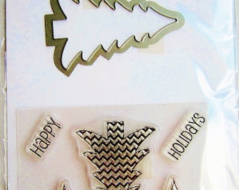 Trees SC0718 Christmas Happy Holidays Clear Stamp and Coordinating Die Set by Hampton Art Stamps