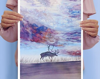 Colorful Sky Over The Deer Painting Art Watercolor Original 27×38 cm on Paper
