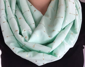 Mint with Gold Arrows Infinity Scarf