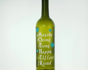 Bottle with Lights, Gift for Mom, Mother's Day Gift, Mother Quote, Gift for Mother, Lighted Bottle, Wine Bottle Lamp, Gift for Her, Mom Gift
