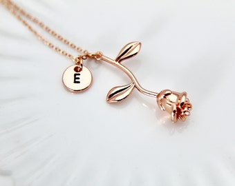 Rose Gold Rose Necklace, Rose Gold Rose Charm, Rose Flower Charm, Mother's Day Gift, Garden Gifts, Girlfriend Gift, Aunt Gifts, Beauty Gift
