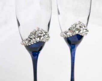 Navy Wedding, Personalized Toasting Flutes, Wedding Flutes, Bride and Groom, Wedding Champagne Glasses, Crystal, Wedding Gift, Flutes, 2 pcs