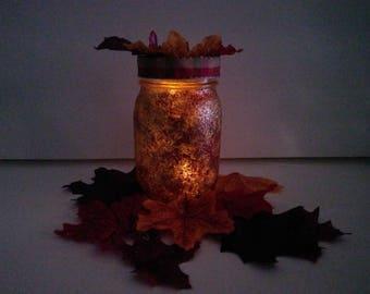 Fall Sparkling Luminary - Fall Table Decor - fall leaves
