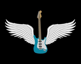 Winged Guitar Embroidery Design