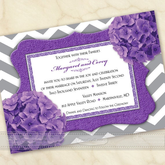 wedding invitations, purple wedding invitations, chevron wedding invitations, wedding package, purple bridal shower invitations, IN543