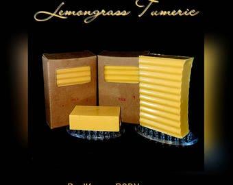 Lemongrass soap with turmeric, goats milk, honey, oatmeal