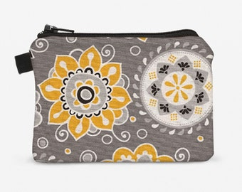 Floral Coin Purse, Women's Floral Wallet, Mini Fabric Coin Bag, Floral Zipper Pouch, Small Makeup Bag - yellow  white flowers in gray