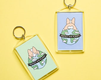 Protect Our Planet Corgi Keychain, Earth Day, Donate, Cute Keychain, Save the Planet, Environment, Stocking Stuffer, Corgi Butt