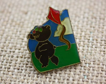 Bear Flying Kite - Enamel Pin by American Gag Bag Inc. - Vintage Novelty Pin c. 1980s