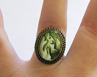 Ring, Baroque, Bronze, (green)