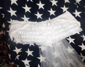 White lace bustle skirt