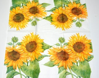 Sunflower Paper Napkins for Decoupage, Floral Print Tissue Paper, Serviette, Decoupage Paper Napkins, Scrapbooking Supplies