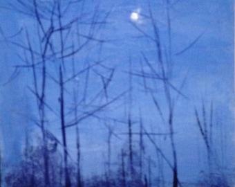 "9 1/2"" x 6 1/2"" Acrylic Painting Moonlight sky"