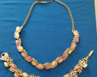 Vintage Gold Tone Pink and Peach Synthetic Stone Necklace and Bracelet Set