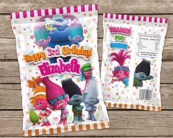 Printable Trolls Chip Bag, Poppy Birthday Party Favor, Candy Bag, Party Bag, Popcorn Bag,  Treat Bags