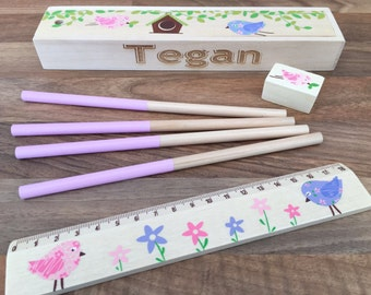 Wooden personalised pencil set engraved with the name of your choice bird set