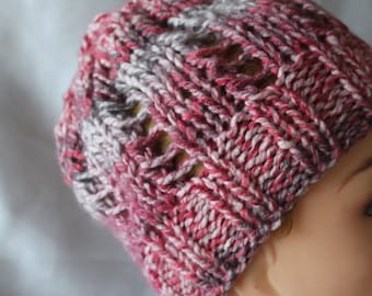 hand knitted hat, pink and Grey Heather child