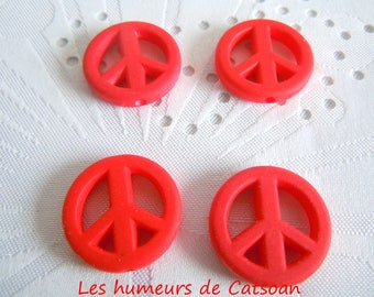 4 charms in peace and love Red 20mm / Pearl peace / acrylic charm / peace sign