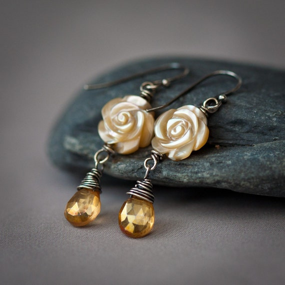 Honey and Tea Roses - Mother-of-Pearl Roses and Amber Mystic Quartz Wire Wrapped Sterling Silver Earrings