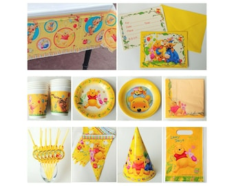 Classic Winnie the Pooh Party Supplies Cups Plates Tablecover Invitations Banner Straws Treat Bags Napkins Hats ~ Winnie the Pooh Birthday