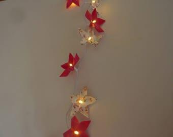 light string of 20 origami flowers