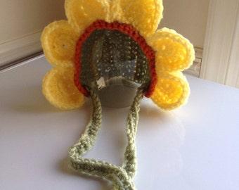 Crochet Baby Hat, Newborn Flower Hat, Flower Petal Hat, Spring Flower, Sunflower, Photo Prop Outfit, Baby Shower Gift, Made to Order