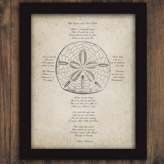 Legend Of The Sand Dollar Poem Cross Printable Digital Wall