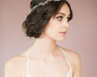 Silver Bridal Crown, Bridal Headpiece, Crystal Crown, Pearl Headband, Pearl Hair Band, Wedding Crown, Silver Headband, Pearl Halo JANET