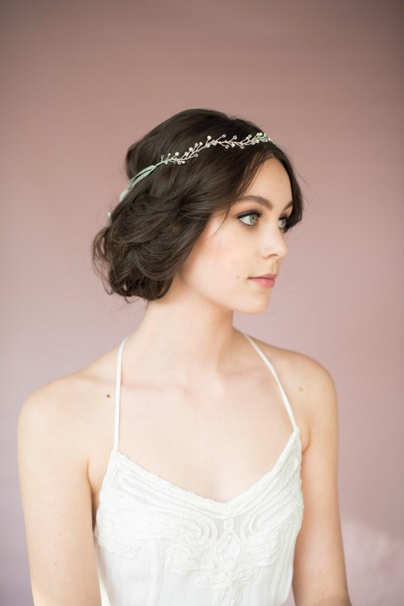 silver bridal crown bridal headpiece crystal crown pearl