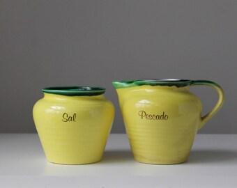 Spanish kitchenware, Mediterranean cooking, Pescado sauce pitcher, Lemon yellow pottery, Salt box, Cerbol pottery, Lemon juice pitcher