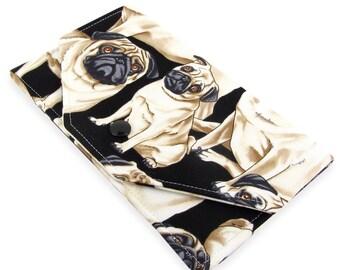 Pug Dog Cash Envelope Wallet - Fabric Checkbook Holder - Makes A Great Budget Wallet - Lightweight, Slim Design