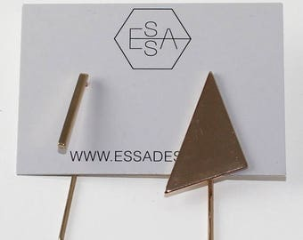 Essa Sale Triangle and stick earring gold, silver and black