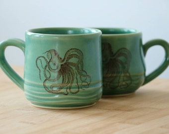 MADE TO ORDER: Octopus vintage illustration  mug- in Ocean Jade