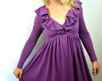 Vintage 1970s Purple Ruffled Boho Maxi Dress