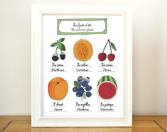 Kitchen Art Summer Fruits 11x14 giclee art print of original illustration home decor French Kitchen Food farmer's market botanical chart