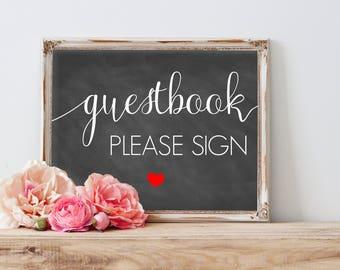 Guestbook Wedding Sign, Wedding Chalkboard Sign,  Guestbook Table Sign, Please Sign Our Guestbook Printable, Guestbook Printable Chalkboard