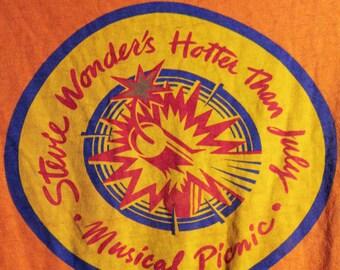 PRICE CUT!! Stevie Wonder Concert T Shirt! Authentic Vintage 1980! Stevie Wonder ~ Hotter Than July Tour