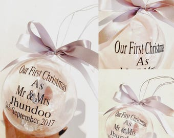 Personalised Mr & Mrs Bauble, Couple Gift, First Christmas As Mr and Mrs Bauble, Christmas Wedding Gift, Christmas Bauble, Gift For Girlfrie