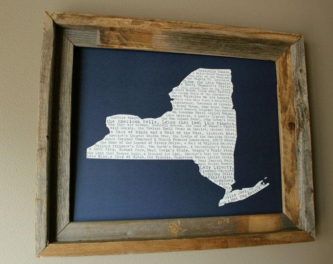 New York (State) In A Nutshell Word Art Map Print (Dark Blue) - Unframed