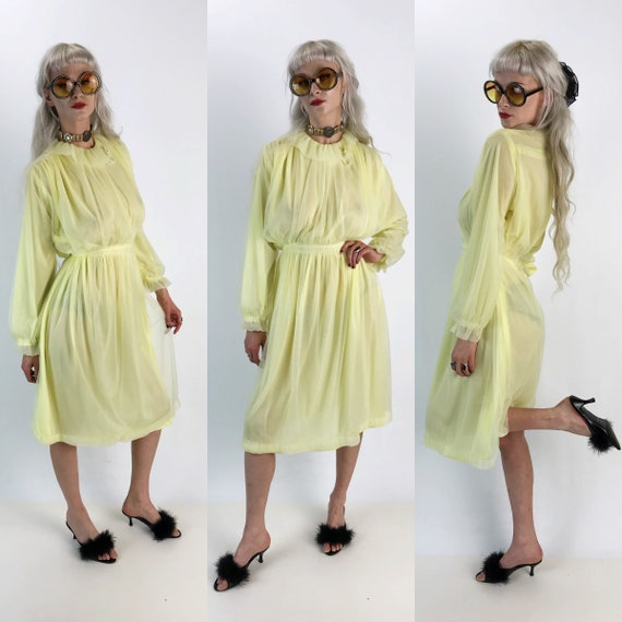80's Pale Yellow Midi Dress Medium - VTG High Neck Semi Sheer Lolita Girly Sweet Pastel Kawaii  Long Sleeve Formal VTG Granny Dress