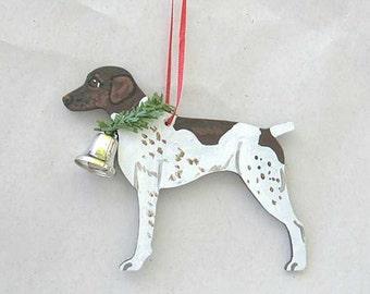 Hand-Painted GERMAN SHORTHAIR POINTER Liver/White Wood Christmas Ornament...Artist Original, Christmas Tree Ornament Decoration