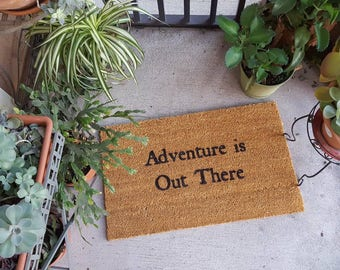 Adventure is Out There Doormat | Up Decor | Adventure | Fun Gift | Welcome Mat | Door Mat | Go Outside