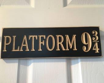 """4"""" x 12"""" Engraved Door Hanger Sign CNC Carved - Harry Potter Inspired - Platform 9 3/4 King's Cross Station Hogwarts Express Muggle Wizard"""