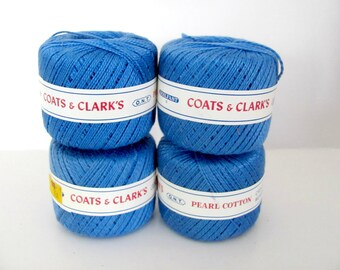 Vintage Blue Pearl Cotton Thread Lot, Coats and Clark Pearl Cotton Thread, Size 5 Embroidery, Crochet, Knitting Thread, Crafting Thread