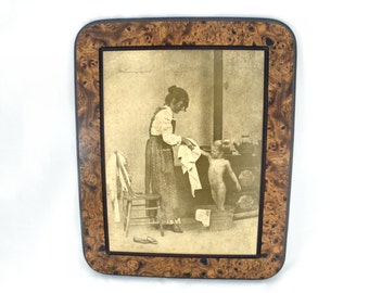 Sepia Tone Woman Bathing Child Lithograph with Moulded Faux Bois Frame