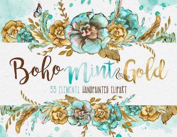 Watercolor Flowers Digital Clipart Boho Chic Wreath Mint Gold